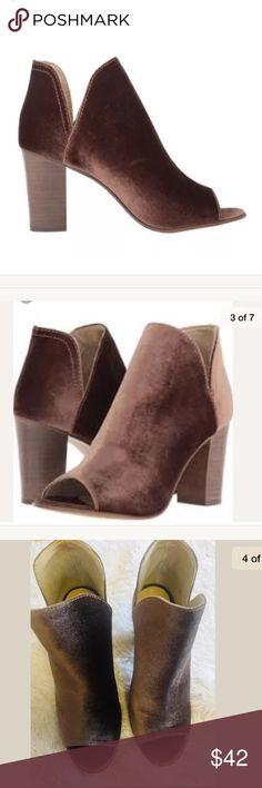 "NEW Steve Madden kaitt Brown velvet peep boots Steve Madden Kaitt Ankle Boots  Size 9.5  Brown velvet  Peep Toe  Heels are 3.5""  New!!! Steve Madden Shoes Ankle Boots & Booties"