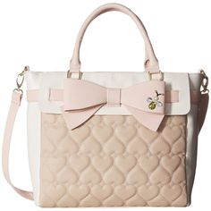 Betsey Johnson Belted Bow Tote (Sand) Tote Handbags ($45) ❤ liked on Polyvore featuring bags, handbags, tote bags, beige, bow tote bag, beige handbags, beige tote, tote purses and betsey johnson purses