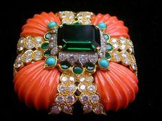 Coral, Diamond, Turquoise and Green Tourmaline Brooch                                                                                                                                                                                 More