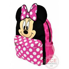 Disney Minnie Mouse Backpack - Ears and Bow Dot 12 Inch Small Girls School Book Bag