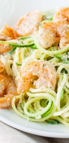 Ready for some easy peasy comfort food with a light and creamy twist? Shrimp and Zucchini Noodles in a Parmesan Pesto Cream Sauce... pencil it in for lunch or dinner this week!