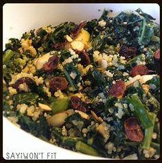 SAYiWONT FiT, Sayiwon't fit, Clean eating, healthy food, recipes   Kale & Quinoa Salad