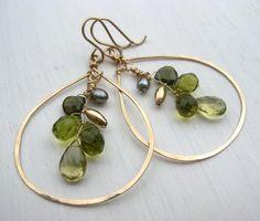Hammered Teardrop Green Stone Earrings