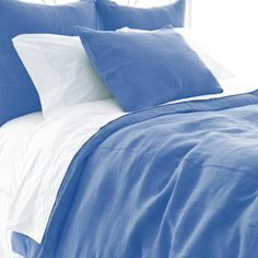 Stone Washed Linen French Blue Paneled Bed Skirt Queen | Gracious Style
