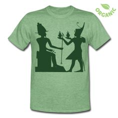 Gifts to a Egyption God  Unisex Organic Lightweight Heather T-Shirt  Form-fitting Unisex Eco-Heather Crew T-Shirt, 38% cotton (6.25% organic cotton), 50% polyester (6.25% recycled poly), 12% rayon, Brand: Alternative Apparel   As a unisex shirt, it is recommended that men order a size up for a more roomy fit and women order a size down if looking for a tighter fit. Wash in cold water, dry on low heat.     Details   Gifts to a Egyptian God double design front & back