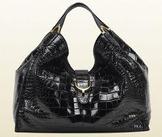 Gucci Soft Stirrup Crocodile Shoulder Bag