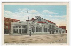 Southern Pacific Railroad Train Depot Reno Nevada linen postcard | eBay