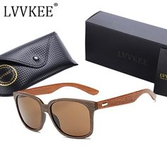 LVVKEE high-quality Walnut Wood sunglasses bamboo sun glasses brown lens Women Men wooden sunglass Oculos gafas de sol feminino