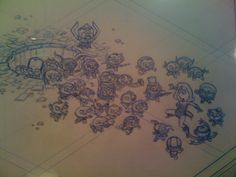 Blue line drawing of Lois from Family Guy as Wonder Woman being attacked by various Stewies as DC villains. On display at the American Dad offices in LA.
