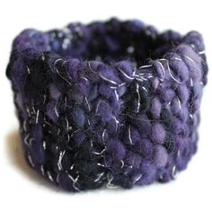 Knit Bracelet Hand Silver and Yarn Lizzy Lizano Jewelry Knit Knitted Bracelet, Knitted Jewelry, Knitting Ideas, Hand Knitting, Cuff Bracelets, Bangles, Craft Jewelry, Textile Jewelry, Crocheting