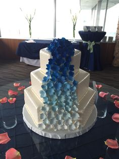 blue ombre flowers on hexagon wedding cake www.holiday-market.com