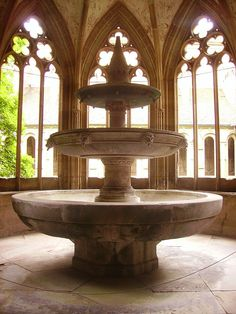 Maulbronn Kloster Kreuzgang Brunnenhaus Innen Brunnen 2 - Lavatorium - Wikipedia, the free encyclopedia Gothic Interior, Outdoor Fountains, Art Nouveau Architecture, Exotic Places, Fairy Land, Arches, Aesthetic Pictures, Castles, Balcony