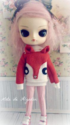 Fox sweater for Blythepullip or Dal doll by MotaDeAlgodon on Etsy