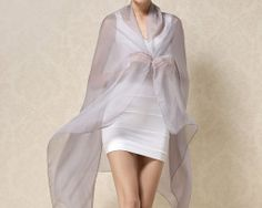 Luxusný veľký hodvábny šál v sivej farbe