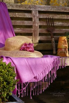 Dainty scarf hat on garden bench Check out the website for Just Girly Things, All Things Purple, Purple Stuff, Color Lavanda, Vibeke Design, Summer Hats, Shades Of Purple, Purple Art, Belle Photo