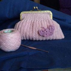 #Crochet.Hilo rosa. Monedero con boquilla cuadrada.