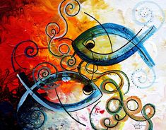 Purposeful Ichthus By Two Painting  - Purposeful Ichthus By Two Fine Art Print