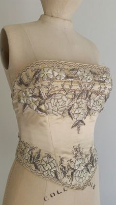 #Les Habitudes #Los Angeles # butter gold silk duchess#Embroidered flowers #old silver beads#Lace up back