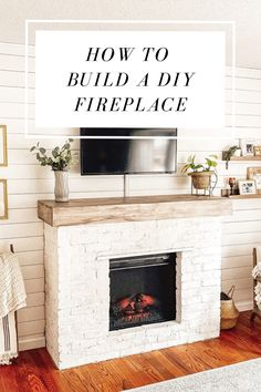 See how we built a brick DIY Fireplace around an electric insert AND stayd within budget! A step-by-step guide of what we did and learned along the way. Build A Fireplace, Home Fireplace, Diy Faux Fireplace, Fireplace Diy Makeover, Fireplace Ideas, Farmhouse Fireplace, Farmhouse Ovens, Brick Fireplace Remodel, Brick Fireplace Decor