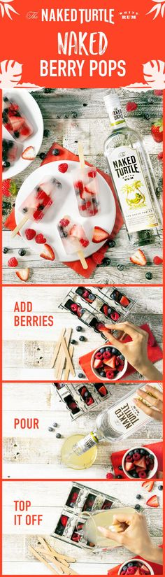 Meet the perfect summer treat! Whether you're hosting a backyard BBQ or having an outdoor picnic, this fresh berry pop recipe brings the fun. To make 16 pops, drop 5 oz. fresh blueberries, 6 oz. raspberries & 6 oz. strawberries into 16 ice pop molds. Add ¾ cups Naked Turtle & 1 lime, juiced. Top ice pop molds with coconut water. Insert the sticks. Cover and chill for several hours. Let sit at room temperature for a few minutes, then release from molds. Enjoy!