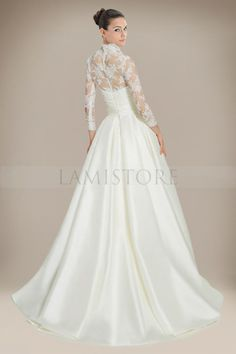 Beauteous A-line Wedding Dress with Queen Anne Lace Jacket : Lamistore.com