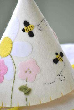 Bees in the Garden - Felt Party Hat  http://www.etsy.com/shop/stellandlivi