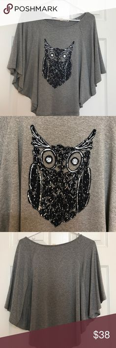 Chelsea & Violet owl gray shirt size S The owl is printed right in the front of the shirt. Color is gray in size S. Material: 95% Rayon and 5% Spandex. In great condition. Retail price $88 Chelsea & Violet Tops Blouses