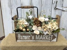 Farmer's Market Wood Box with Antique Reproduction Hand Drill, Cotton Pods, Flowers and Berries, Farmhouse Centerpiece, Primitive Floral by SheilasHomeCreations on Etsy