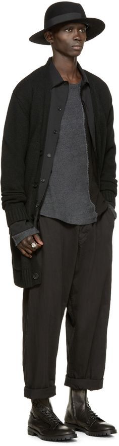 Yohji Yamamoto Black & Grey Colorblocked Shirt