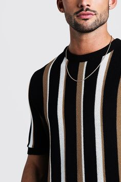 Regular Fit Vertical Stripe Knitted T-Shirt Vintage Design, Vintage Men, Vintage Shirts, Vintage Outfits, Indie Fashion Men, Outfits With Striped Shirts, Vertical Striped Shirt, Moda Blog, Streetwear