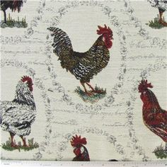 Love this french rooster fabric for the new valance in my kitchen -- coordinates well with the charcoal couch and french pillows in the family room! <3
