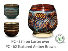 AMACO Potter's Choice layered glazes PC-62 Textured Amber Brown and PC-33 Iron Lustre.