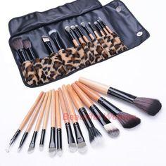 12 шт. профессиональный портативный косметические инструмент сумка с леопардовым принтом красоты кисти SV009328