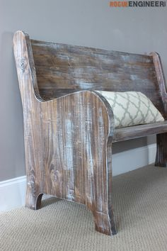 DIY Church Pew Plans by @rogue_engineer. To get the old look Jamie started by staining the entire pew with Varathane then dry brushed the pew with Chalked paint from Rust-Oleum. The key to dry brushing is to get a very small amount of paint on the brush.Then using quick strokes, go along with the grain of the wood. http://www.rustoleum.com/product-catalog/consumer-brands/chalked