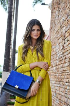 love that celine purse.  blue + yellow = awesome color combo!