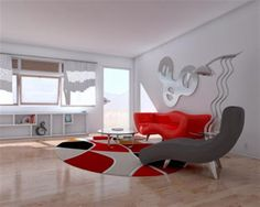 Modern living room with brown of lounge chairs with red sofas that add beauty