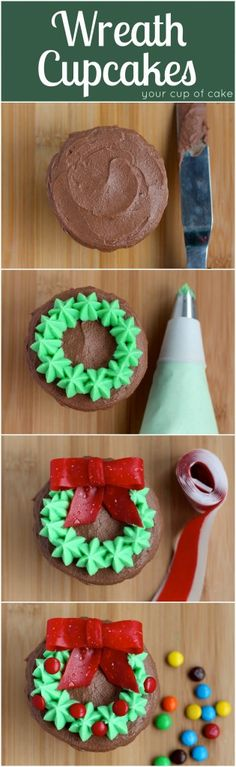 "Wreath Cupcakes - frosting, ""Fruit by the Foot"" bows and mini M&M's...Too cute! Wish I saw this before I decorated the cupcakes I made tonight!"