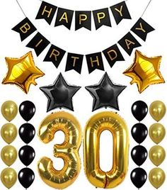 30th Birthday Party Decorations Kit, Happy Birthday Banner, 30th Gold Number Balloons,Gold and Black, Number 30, Perfect 30 Years Old Party Supplies,Free Bday Printable Checklist - http://www.partysuppliesanddecorations.com/30th-birthday-party-decorations-kit-happy-birthday-banner-30th-gold-number-balloonsgold-and-black-number-30-perfect-30-years-old-party-suppliesfree-bday-printable-checklist.html