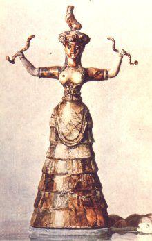 Bogini węży z pałacu w Knossos na Krecie ok. 1550 p.n.e. kultura minojska