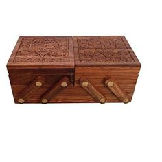 Indian Glance Wooden Jewelry Box for Women - Sewing Box Organizer Display Storage Case - Gifts for Mom #indianjewelry