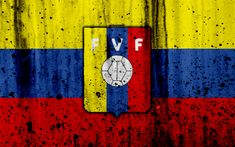 Download wallpapers Venezuela national football team, 4k, emblem, grunge, South America, football, stone texture, soccer, Venezuela, logo, South American national teams