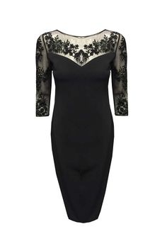 sophisticated black dress with illusion beaded arms, chest,and back