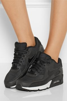 Nike|Air Max 90 leather and printed jacquard sneakers | net-a-...