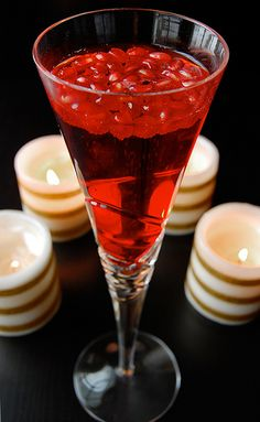 Pomegranate Champagne... less juice and a little more champagne for me, yummy and festive