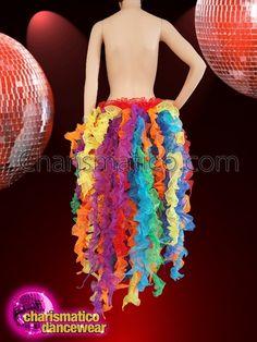 Charismatico Stunning Simple Fluffy Organza Ruffled Gay Pride Bright Rainbow Boa