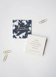 business cards, gold, square, branding, typography, paper clips