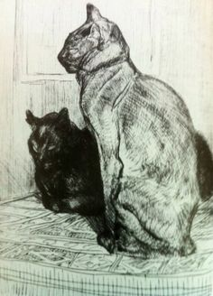 Theophile Alexandre Steinlen , Two Cats' 1914