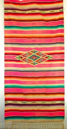 Image detail for -Saltillo Serape Vintage Mexican Blanket Very Rare Pink Color | VandM ...  I remember a few of this type of blankets in my grandmas house. This color is feminine unlike grandmas!