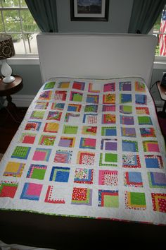 """Twin quilt #2 - front.  Fabric is """"Hoopla"""" by Moda."""