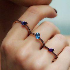 """Javelin Trio"" Gemstone Three Finger Ring"